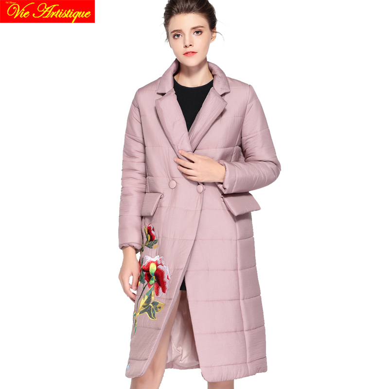 Embroidery floral winter casual jacket woman parka fem me female long coats jackets big size wine pink orange jazzevar miegofce