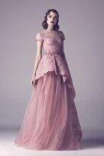 Spitze Flügelärmeln Schößchen Vintage Style A-linie Lange Tüll Abend-kleid-formales Kleid robe de soiree
