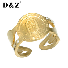 D Z Trendy Gold Silver Rings For Women Catholic Virgin Mary Engraving Stainless Steel Hollow Crystal Charm Ring Femme Jewelry