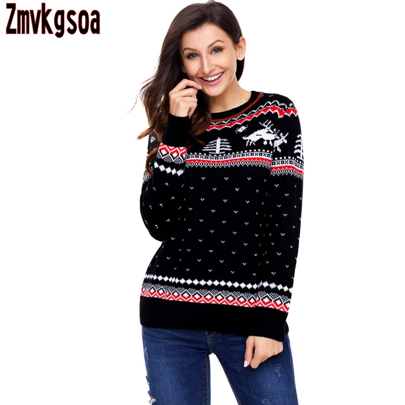 Zmvkgsoa Black Red Sweater Women Christmas Reindeer Knit 2017 Girls Sweaters For Woman Winter And Autumn Clothing V27790