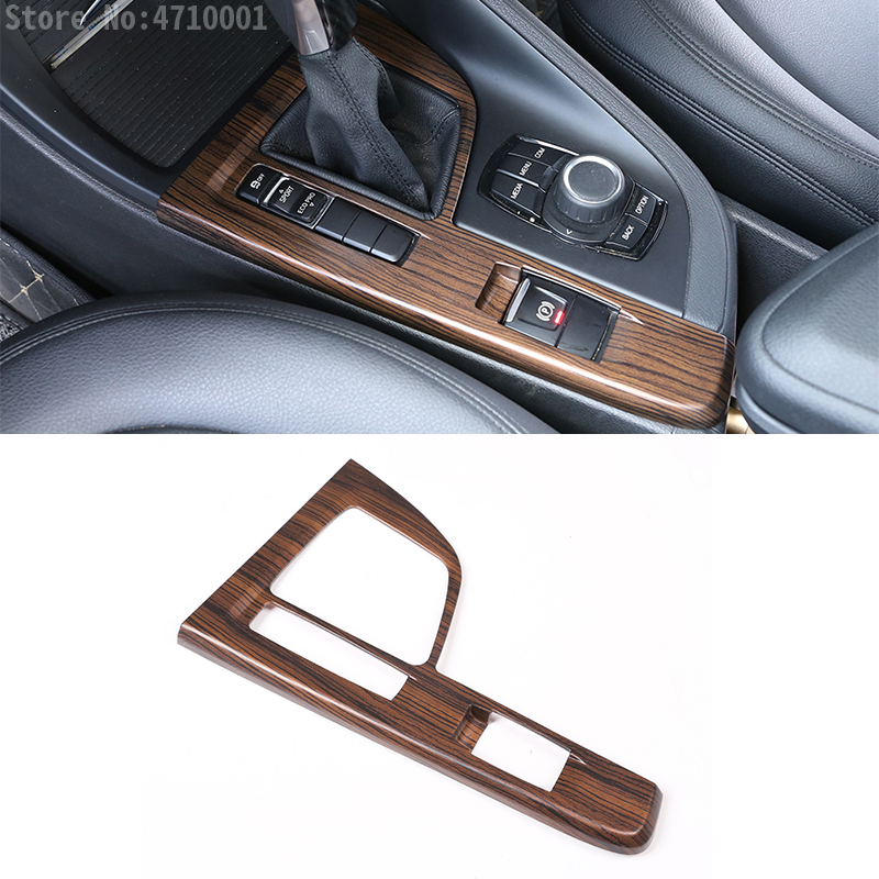 Pine Wood Grain Center Console Gear Shift Panel Sequin Cover Trim Car Accessories For BMW X1 F48 2016-2018 Left Hand Drive