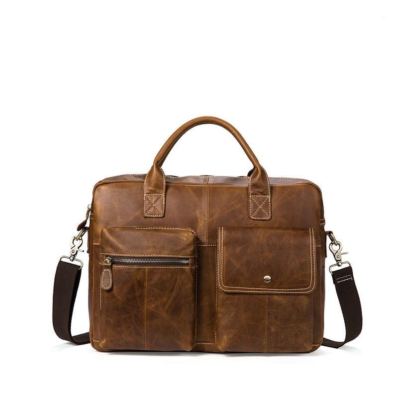 Men Casual Briefcase Business Shoulder Bag Messenger Bags 100% Genuine Leather Computer Laptop Handbag Bag Mens Travel BagsMen Casual Briefcase Business Shoulder Bag Messenger Bags 100% Genuine Leather Computer Laptop Handbag Bag Mens Travel Bags