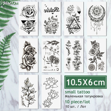 10 Pcs/ Lot Waterproof Temporary Tattoo dreamcatcher flash henna Tattoo sticker body art translated tattoo fake sleeve tattoo