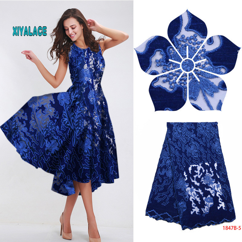 African Lace Fabric 2019 High Quality Nigerian Lace Fabrics  Guipure Cord Fabric Embroidery French Velvet Tulle Lace YA2413B-1
