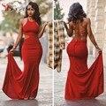 Popular Cabidas Delgadas Cortó Vestidos de Fiesta 2016 de Cuello Redondo de Encaje-up volver Sexy Red Prom Vestidos Baratos vestidos de Baile Debajo de 100 Vestido Largo
