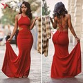 Popular Slim Fitted Cut Out Prom Dresses 2016 Crew Neck Lace-up Back Sexy Red Prom Gowns Cheap Prom Under 100 Long Dress
