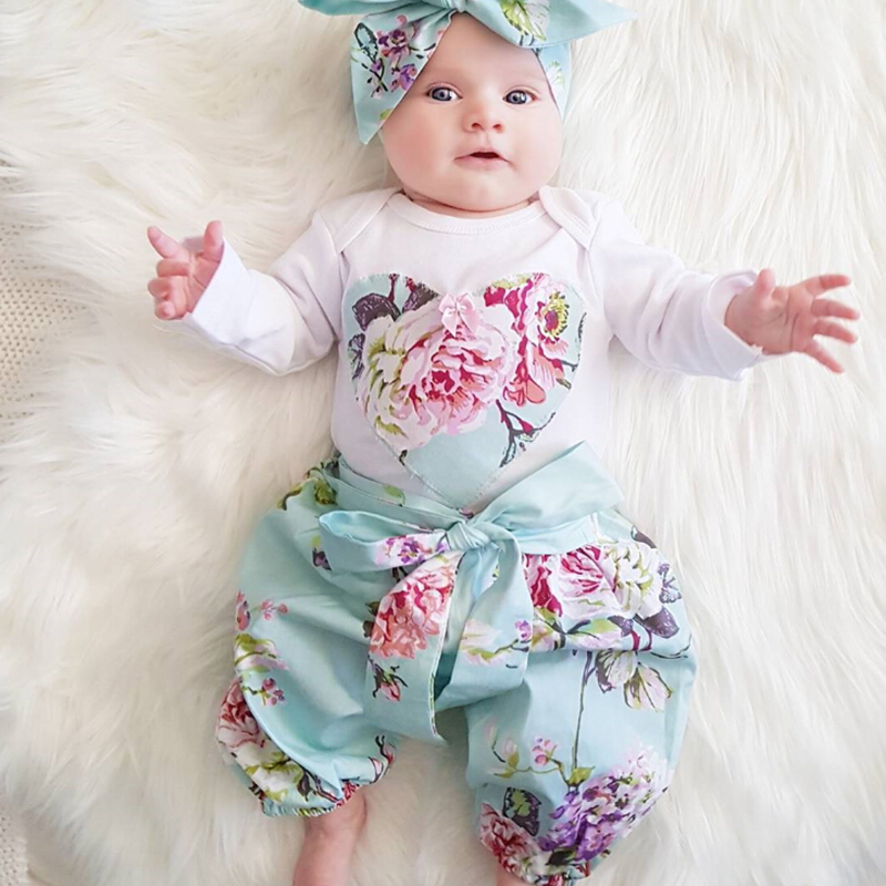 3pcs Newborn Infant Baby Girls Clothes Set Tops Bodysuist Long Sleeve Floral Pants Headbands Outfits Baby Girl Clothing Sets