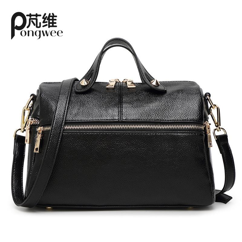 PONGWEE Crossbady Bag Classic Solid PU Leather Briefcase Men Sacoche homme Womens Tote Shoulder Bag Travel Handbag Suitcases