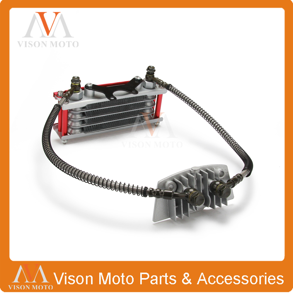 medium resolution of oil cooling cooler radiator for pit dirt bike atv motorcycle quad 50 70 90 110cc pitpro pitster pro sdg dhz ssr piranha