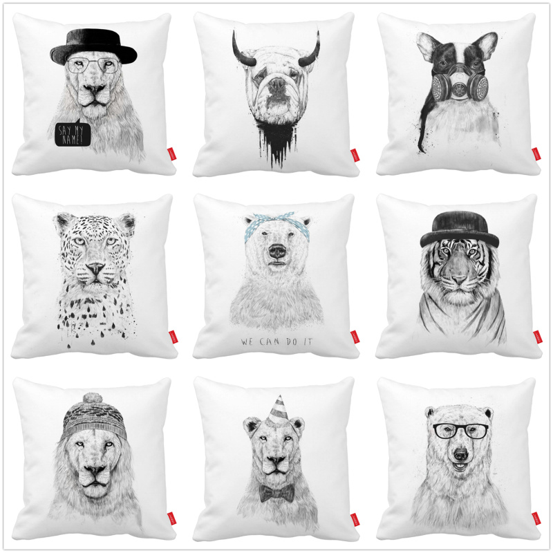 Sketch Black White Hipster Lion Cosplay Print Canvas Car Decorative Throw Pillowcase Pillow Case Cushion Cover Sofa Home Decor