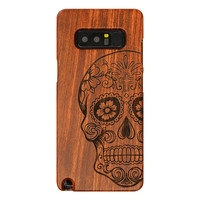 Retro Bamboo Wood Skull Carving Case For Samsung Note 8 Wooden Case Cover For Samsung Galaxy