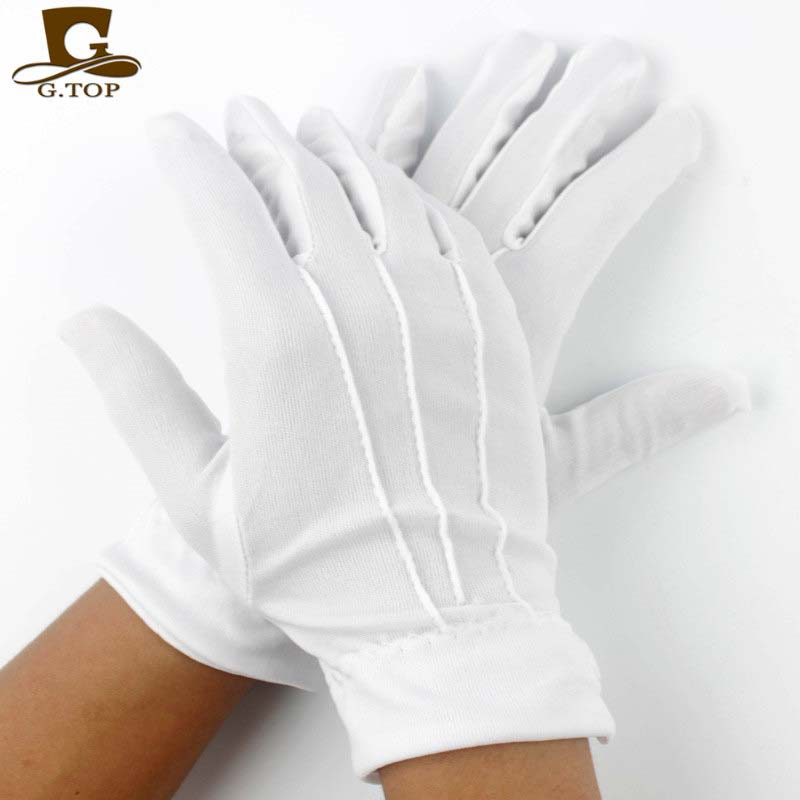 Womens Men Stretch Nylon White Parade Formal Gloves With Snap Wrist - Apparel Accessories