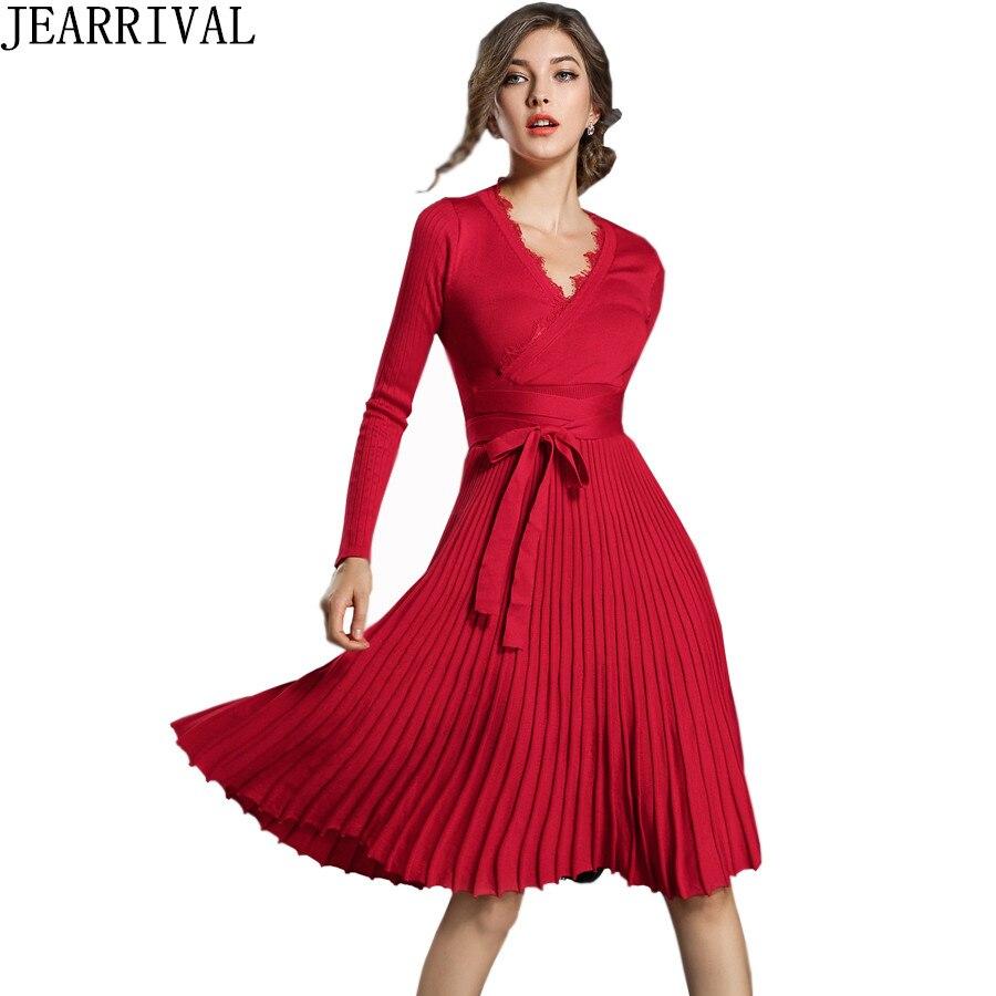 אופנה חורף שמלת 2018 חדש נשים אלגנטי ארוך שרוול סקסי תחרה V-צוואר קפלים מזדמן סוודר סרוג שמלות Vestido דה Festa
