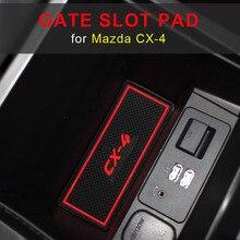 Gate slot pad For Mazda CX-4 CX 4 CX4 Interior Door Pad/Cup Non-slip mats red white Interior Car Styling Accessories 6pcs luminous silica gel gate slot pad for smart 453 fortwo forfour car styling interior door pad cup non slip mats