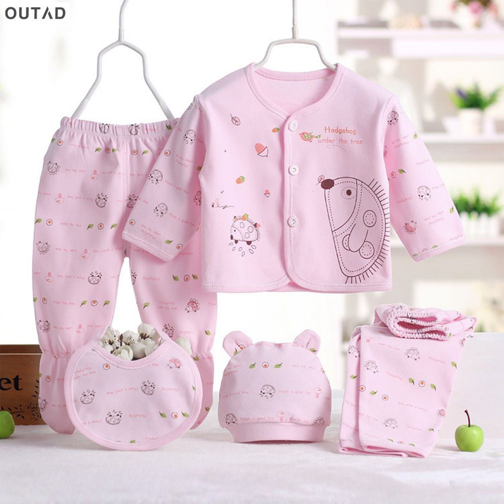 OUTAD 5Pcs Newborn Baby Clothes Boy Girl Long Sleeve Tops Hat + Pants + Bib Playsuit Suit Outfit Set 0-3 M Infant Clothing Set