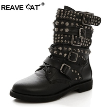 Ankle-Boots Studded Low-Heels Combat Buckle Plus-Size Winter Women Lace-Up Rivet REAVE