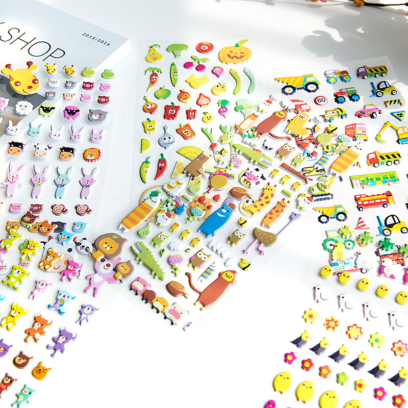 1Pcs 3D Puffy Bubble Sticker Toys Children Cartoon Animal Fruit 3D Stereo Stickers Toy Room Decoration TZ10
