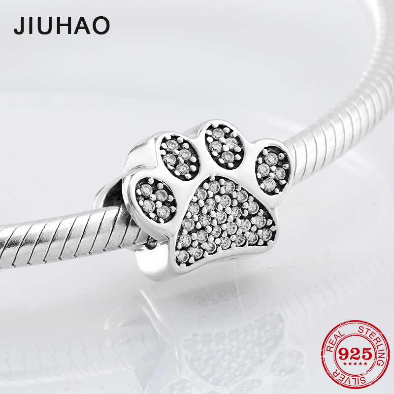 Hot sale jewellery Dog claw charms beads 925 Sterling Silver crystal zirconia Fit Original Pandora Bracelet for jewelry making цена
