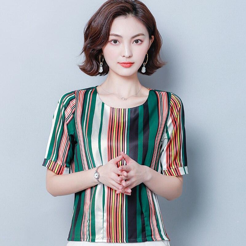 Korean Fashion Silk Women Blouses Striped Satin Short Sleeve Blue Women Shirts Plus Size XXXL 4XL Womens Tops and Blouses in Blouses amp Shirts from Women 39 s Clothing