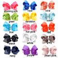 15 Color 8 inch Bowknot Hairbands Solid Hair Bows Kid Girls Headwear Baby Girls Hair Accessories With Alligator Clips 50 Pcs/Lot