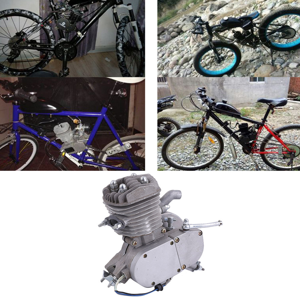 Professional 2 Stroke 80cc Cycle Motor Engine Kit Gas Great For Motorized Bicycles Cycle Bikes Silver High quality 2018 rushed 80cc 2 stroke motorized bicycle cycle petrol gas engine motor kit motorized new
