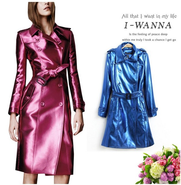 2014 new Lapel double breasted Europe long sections PU leather Fan Bingbing star with windbreaker coat blouses free shipping