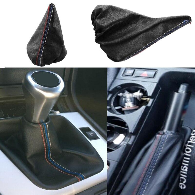 2 stücke PU Leder Hand Brems Schaltknauf Abdeckung Getriebe Fall Auto Innen Dekoration für bmw 3 Serie E36 E46 m3
