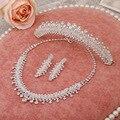 Hecho a mano de cristal brillante collar pendientes tiara de la joyería nupcial conjuntos de tres piezas de la boda equipada accesorios al por mayor
