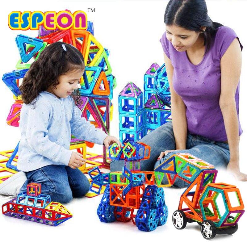 107 PCs Grande Taille Designer Magnétique Modèle de Blocs De Construction et de Construction Jouets Briques Éclairer Briques Magnétique Jouets pour Enfants