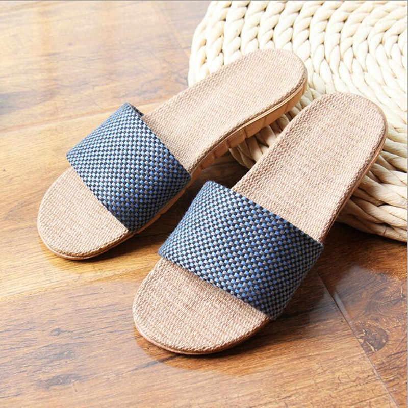 1a3744e7117 ... ToLaiToe Men s New Linen Home Plaid Slipper Couples Spring Summer Cool  Sweat EVA Non-slip ...