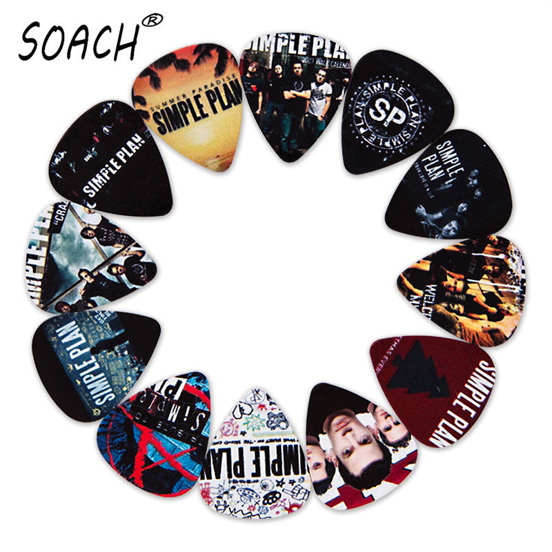 SOACH 10pcs 3 Kinds Of Thickness New Guitar Picks Bass Popular Punk Band Simple Plan Pictures Quality Print Guitar Accessories