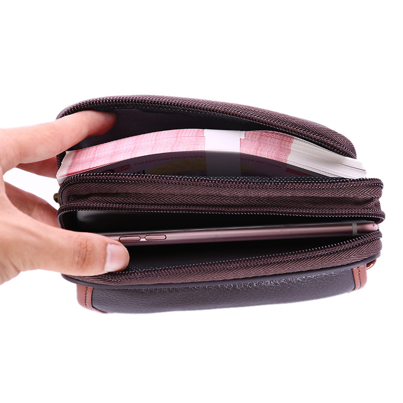 belt men waist bag cow genuine leather phone money card wallet waterproof Multifunction purse vintage black High Quality 2019 in Waist Packs from Luggage Bags