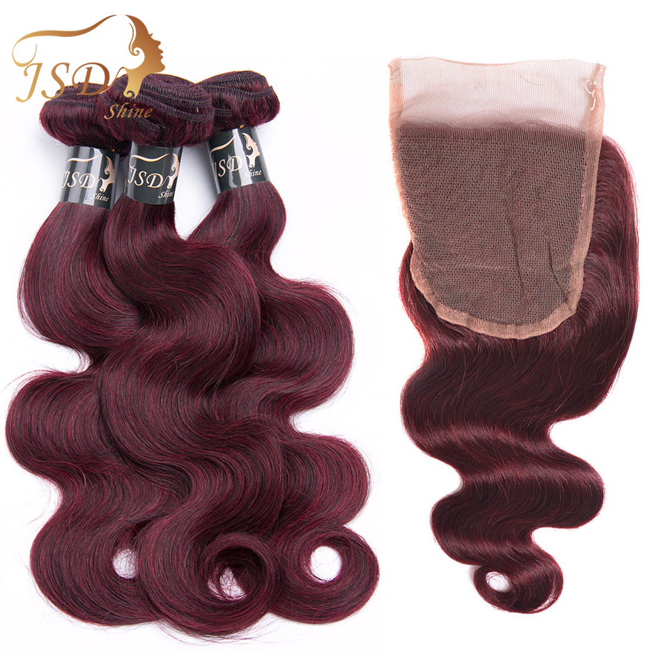 JSDShine Hair#99J Color Indian Body Wave Human Hair 3 Bundles with 4X4 Lace Closure Non Remy Hair Free Shipping No Tangle