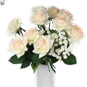 Image 2 - (Kup 2LOT zdobądź dodatkowe 10% zniżki) 11 części/partia strona główna/dekoracje ślubne sztuczny kwiat bukiet panny młodej prawdziwa w dotyku lateksowa róża kwiaty