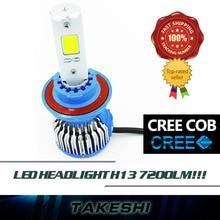 Pair Hi Lo Beam Lamp lights H13 12-24V LED COB 60W/Set 8000LM/Set Car 6000K White Fog Headlight Headlamps Bulb Fast Heat