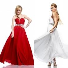 Abendkleid Förderung 2016 Hot A-line Schatz Lange Chiffon Abendkleid Bodenlangen Formal Crystals Falten Sleeveless F699