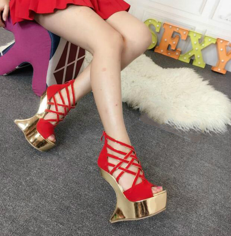 ФОТО Shaped with 16cm high heels 2017 spring and summer new stage shoes Sexy high-heeled sandals