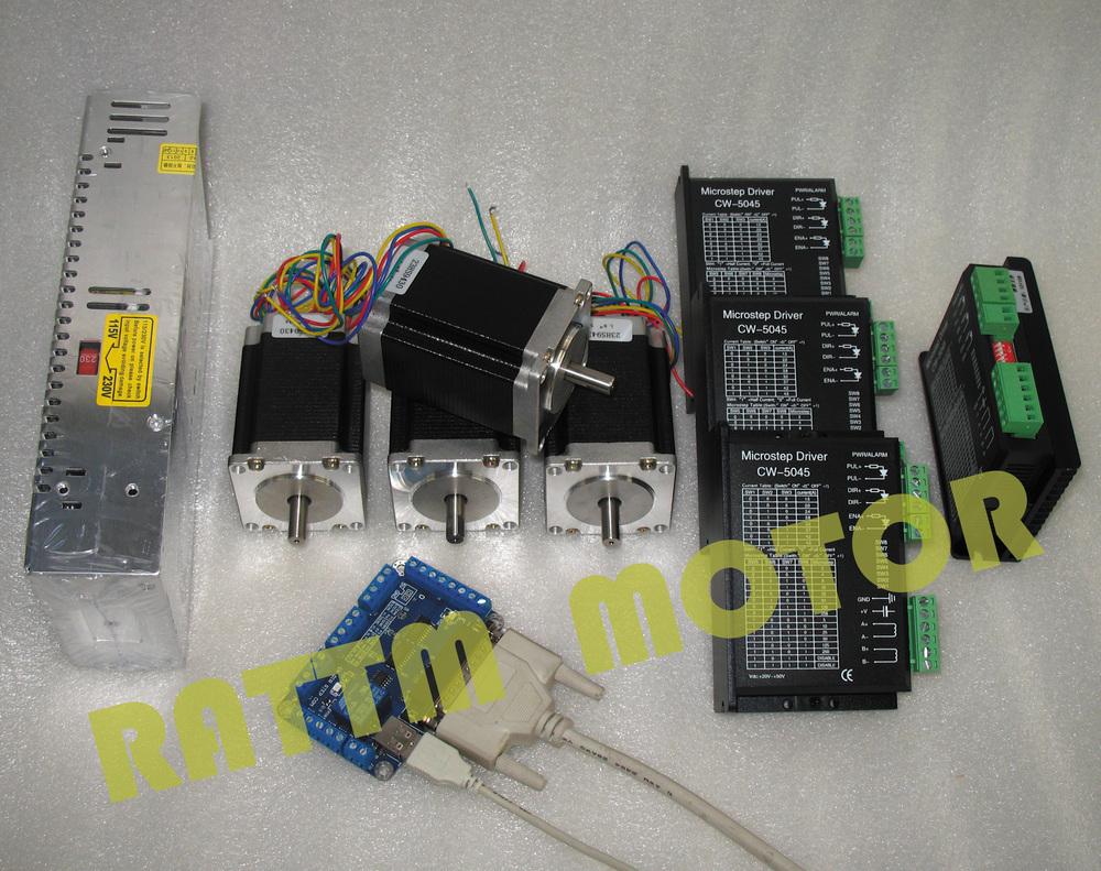 New Products3 Aixs Usbcnc Nema23 425oz In112mm3a Dual Shaft Nema 23 Stepper Motor Wiring Diagram 4 Axis Cnc Controller Kit 4pcs 81mm 3a 308
