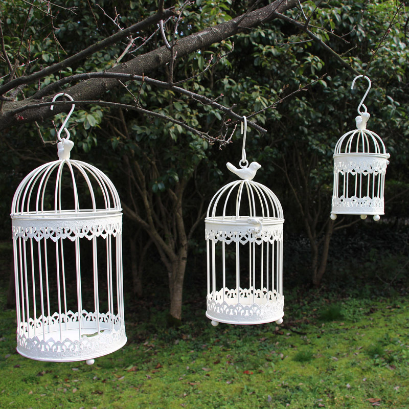 Modern Iron Wrought Metal Birdcage White Small Middle Sets Large Bird Cage Decoration Hanging Flowerpot Succulent Plants Bird Cages Nests Aliexpress