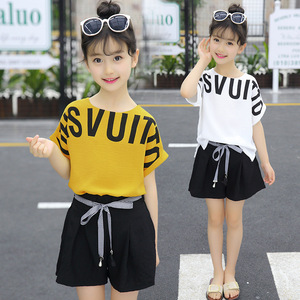 Image 2 - Summer Children Clothing Sets For Girls 2019 Fashion Letter Print Tshirts Tops Shorts Teenage Clothes 2Pcs Kids Suit 10 12 Years