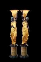 Life size Pair sculptures for villa decor young lady bronze statues light fixture sculptures for Outdoor ornaments Garden