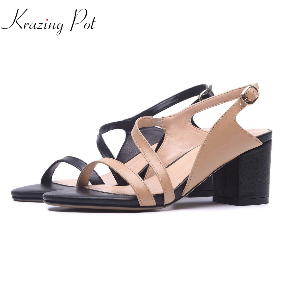 krazing pot gladiator cow leather peep toe ankle straps fashion women thick high heel sandals summer modern girl brand shoes L72 2017 new summer fashion women casual shoes genuine leather lady leisure sandals gladiator all match ankle peep toe flowers