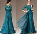 Оптовая продажа-A-line Аппликации Темно-Зеленый Шифон Scoop Шеи Мать Невесты Платье Три Четверти Рукава Европейский американский Стиль