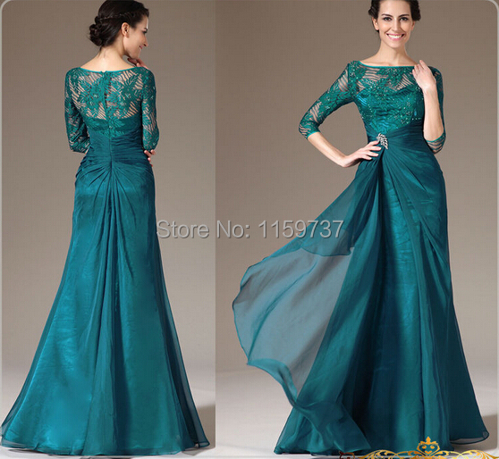 Wholesale--A-line Appliques Dark Green Chiffon Scoop Neck Mother Of The Bride Dress Three Quarter Sleeve European American Style
