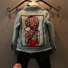 Одежда для девочек весенне-осеннее детское джинсовое пальто куртка с длинными рукавами и рисунком модная одежда для девочек от 1 до 12 лет