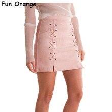 Womens otoño Encaje up cuero Suede lápiz falda Invierno 2016 Cruz Alta  cintura falda zipper split 1fa2f1f6c793