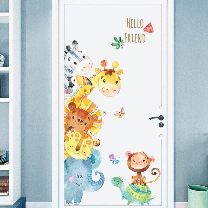 Dessin animé animaux Stickers muraux bricolage enfants Stickers muraux pour enfants chambres bébé chambre armoire porte décor girafe singe motif