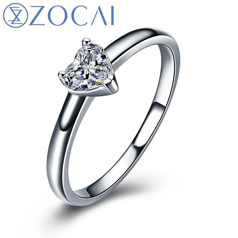 ZOCAI En Forme De Coeur 18 k Or Blanc (Au750) véritable 0.18 CT F-G/SI Coupe Coeur Diamant Bague de Fiançailles W03672