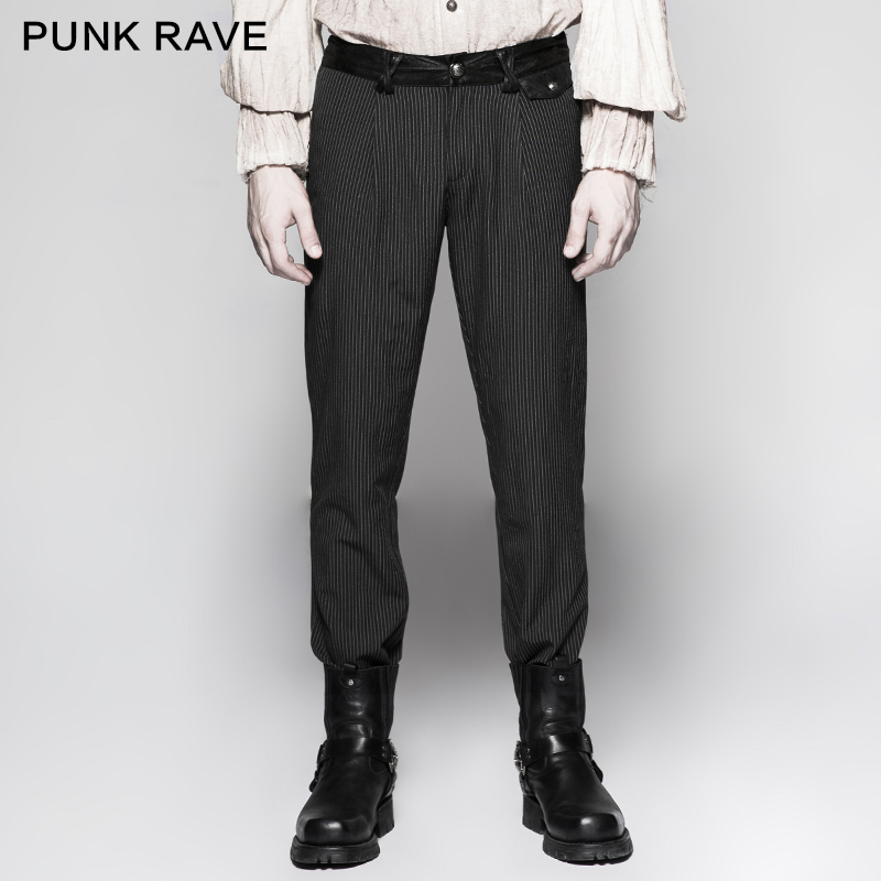 Negro Rayas Ocasionales Simple Rave Colores Black A coffee Hombres Café Retro Caballero Steampunk Pantalones Punk K287 4wYn5q0Xxq