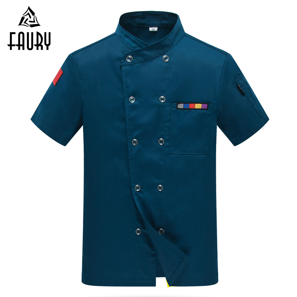 2018 Chef Jacket Women Men Food Service Uniforms Short-sleeve Double Breasted Kitchen Bakery Sushi Restaurant Work Wear Clothes